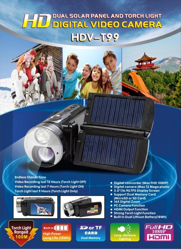 ФОТО dual solar panel  full hd1080p 12mp  with 3inch screen&16 digital zoom digital vedio camera camcorders mini cameras HDV-T99