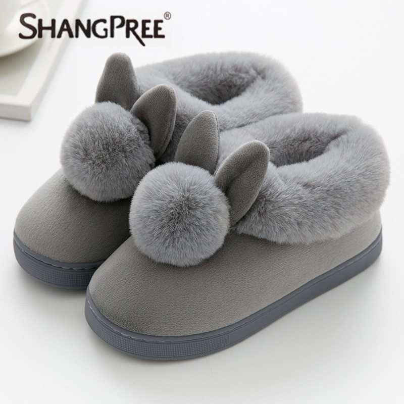 New Women Lovely Rabbit ears Soft Home Slippers Cotton Comfortable Non-slip Warm Winter women slippers Casual indoor slippers new women slippers non slip home room slippers elastic cloth printed grid transparent women comfortable thick soles women shoes
