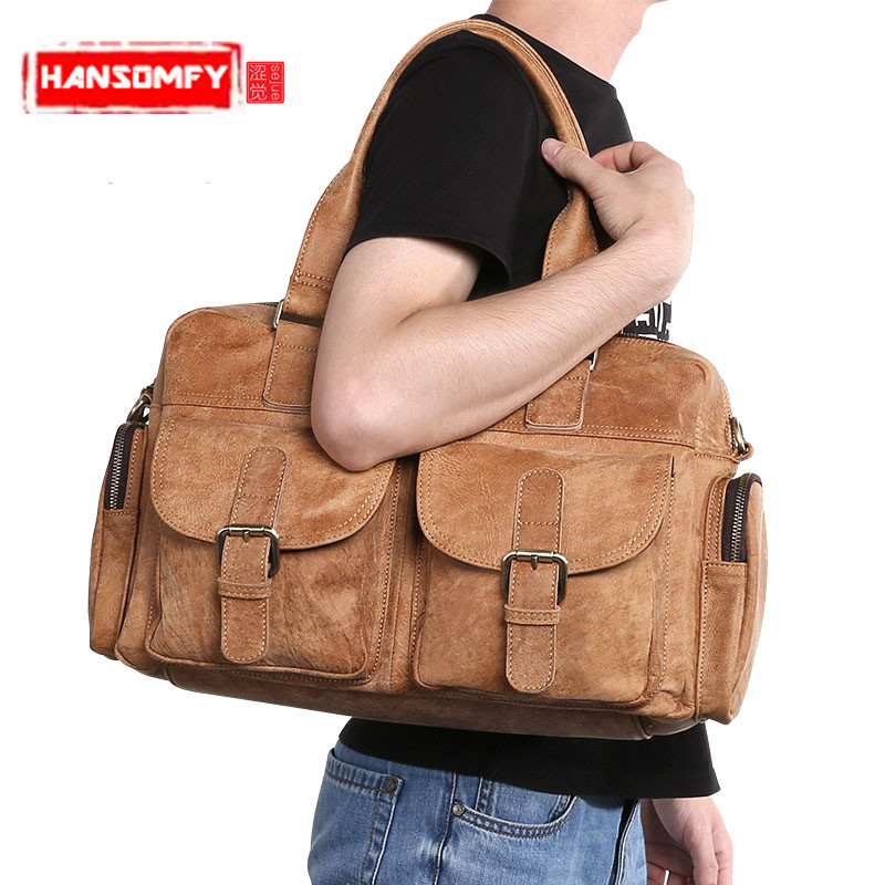 Retro casual Genuine leather mens shoulder bag head layer leather mens handbag fashion trend brown Messenger bagRetro casual Genuine leather mens shoulder bag head layer leather mens handbag fashion trend brown Messenger bag