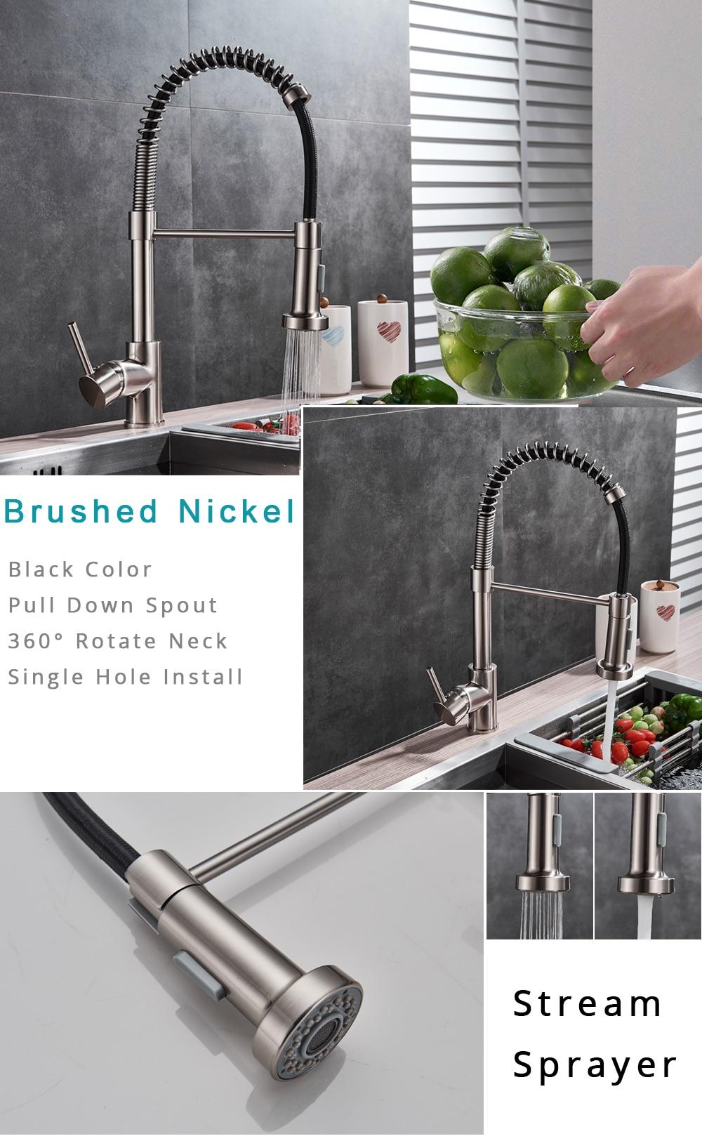 HTB1toBZXkL0gK0jSZFAq6AA9pXa9 Rozin Matte Black Kitchen Faucet Deck Mounted Mixer Tap 360 Degree Rotation Stream Sprayer Nozzle Kitchen Sink Hot Cold Taps