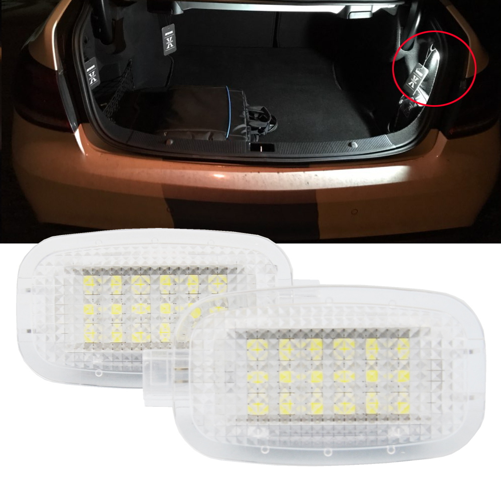 2pcs LED Courtesy Under Door Footwell Luggage Compartment, Vanity Mirror Light For Benz W204 W216 W212 C207 X204 GLK W221 R230