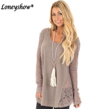 Plus Size S – 5XL Winter Medium-Long O-Neck Pullover Lace Patchwork Sweater Female Causal Jumper Long-Sleeve Knitted Sweater