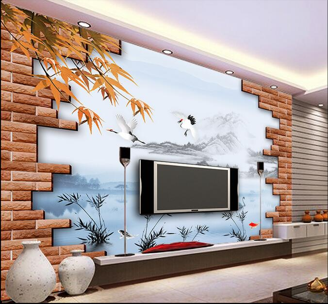 3d wallpaper custom mural non-woven 3d room wallpaper TV setting wall crane brick wall murals photo wallpaper for walls 3 d 3d wallpaper custom mural non woven wall sticker black and white wood road snow tv setting wall painting photo wallpaper for 3d
