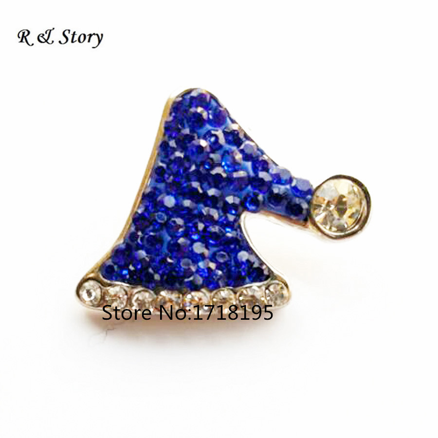 Hot Sale Snap Buttons Jewelry 18mm Buttons Fashion DIY Charms Blue Crystal Christmas Hat Snaps Buttons SB_1065