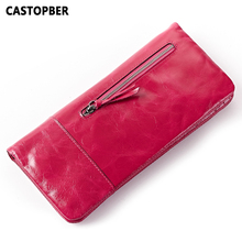 Women Retro Oil Wax Leather Passport Bag Longer Genuine Leather Cowhide Wallets Female Fashion Coin Purse High Quality Famous