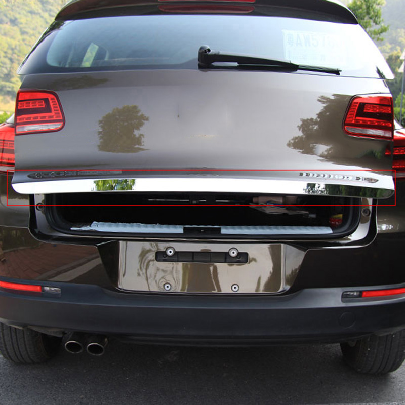 Car Stainless Steel Rear Trunk Lid Cover Trim Tail Gate Protector Back Trunk Cover Fit For VW Tiguan 2010-2015 for bmw x3 f25 stainless rear trunk lid molding cover trim 2011 2015 1pcs