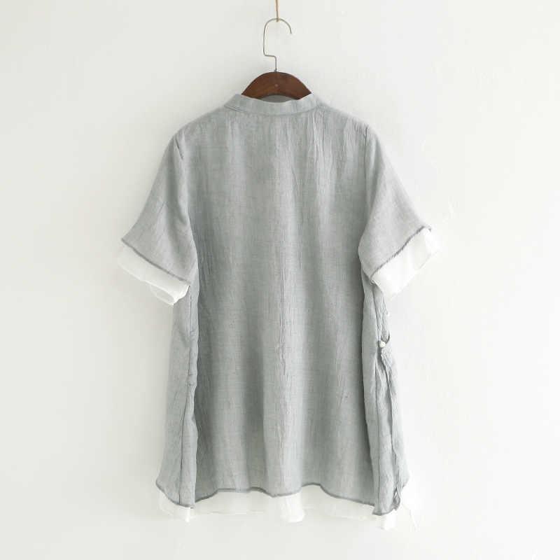 Женские короткие рубашки в китайском стиле, повседневные блузки со стоячим воротником, Новинка лета 2019, свободные винтажные топы, Короткие Необычные Рубашки