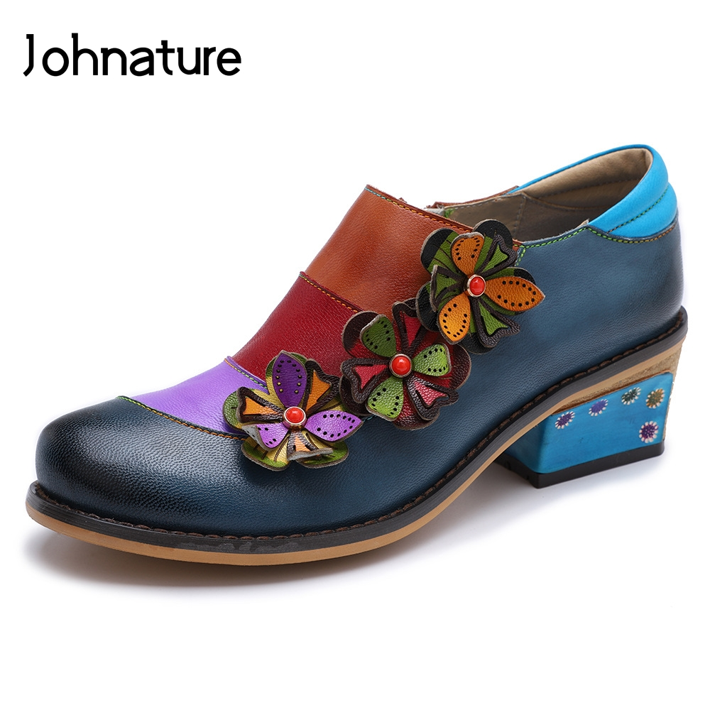 Ayakk.'ten Kadın Pompaları'de Johnature 2019 Yeni Bahar Retro Karışık Renkler Hakiki Deri Yuvarlak Ayak Aplikler El Yapımı Rahat Bayan Ayakkabı Pompaları Med Topuklar'da  Grup 1