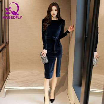 e1f9943fc HAGEOFLY Otoño Invierno terciopelo vestido Sexy manga larga Bodycon lápiz  vestido elegante rodilla longitud azul oscuro negro mujeres vestidos nuevo