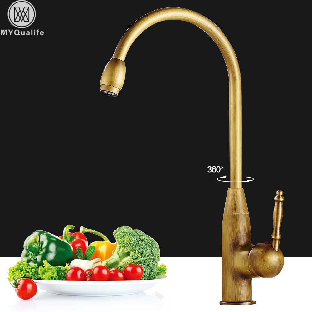 Antique Brass Kitchen Faucet Rotate Neck Spout Kitchen Sink Mixer Taps Single Lever One Hole Hot and Cold Mixer Crane new arrival top quality brass hot and cold single lever kitchen sink faucet tap kitchen mixer