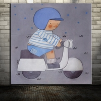 Hand Painted Open Electric Car Boy Cartoon Oil Painting On Canvas Modern Abstract Wall Art For