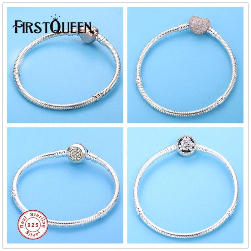 FirstQueen solide en argent Sterling 925 base serpent chaîne avec fleur fermoir Bracelet bijoux fins convient charmes perles bijoux fins