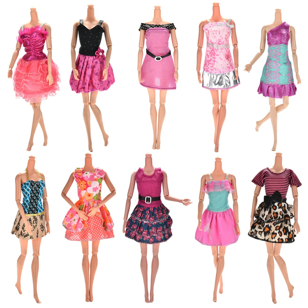 Hot Sell One Set=10 Pcs Mix Sorts 2016 Newest Beautiful Handmade Party Clothes Fashion Dress For Barbie Doll Best Gift Toys