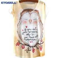 Vintage Summer T Shirt Women Clothing Tops Animal Owl Cat Print T-shirt 2017 New