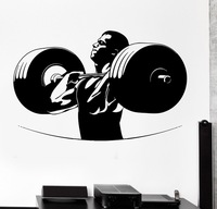 Free Shipping Sports Wall Sticker Sport Powerlifting Bodybuiliding Barbell Crossfit Vinyl Decal Room Decoration