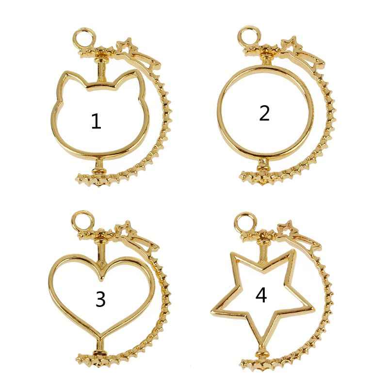Rotating Frame DIY Keychain UV Resin Pendant Open Bezel Setting Jewelry Making DIY Craft hollow blank Pendants frame