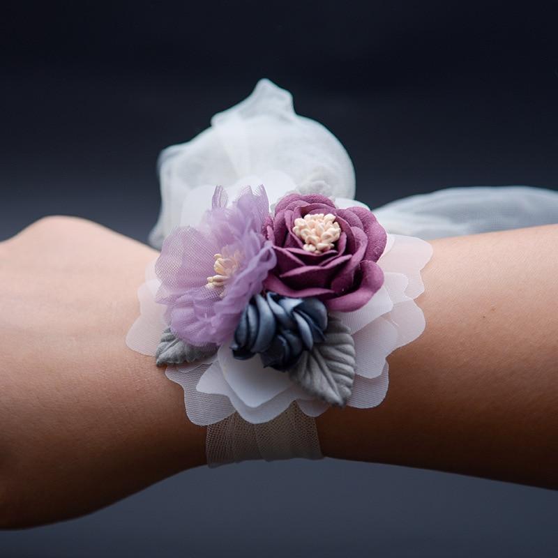 Girls Flower Corsage Hand Corsage Flowers Corsage Bracelet Bridesmaid Bracelet Wedding Flower Bracelet  Hand Pink Pearl Corsage