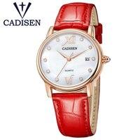 Promo 2019 Reloj de marca de lujo de CADISEN, relojes de las mujeres Reloj de Mujer dama Reloj analógico Reloj femenino de diamantes de imitación pulsera