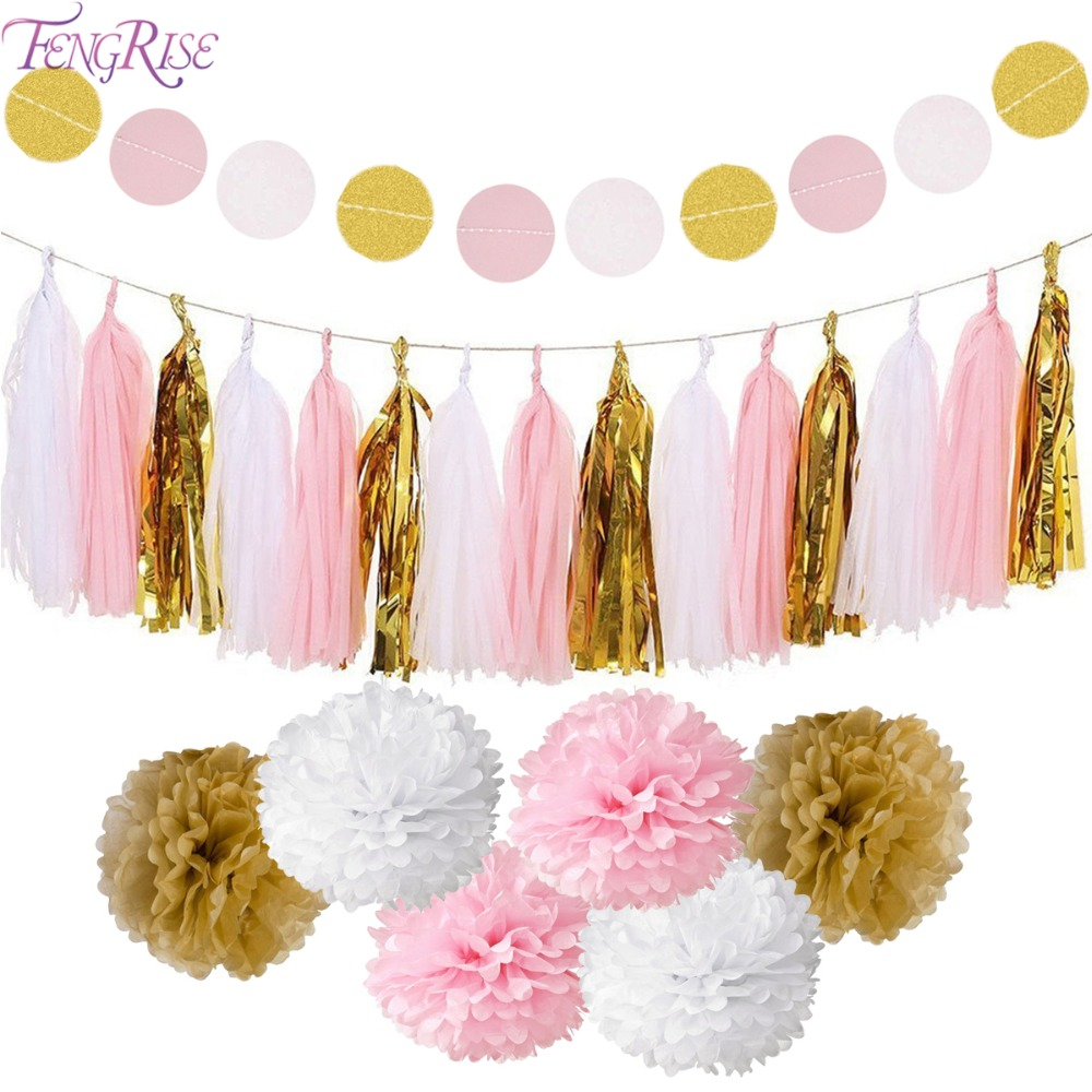 FENGRISE Circle Garland Tissue Paper Pompom Wedding Decoration for Home Birthday Party Kids Favors Boy Girl