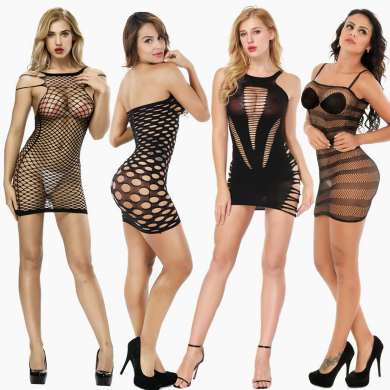 Sex Products Mesh Fishnet Babydoll Women Sexy Lingerie Hollow Out Transparent Underwear Erotic Dress Lenceria Erotica Mujer Sexi