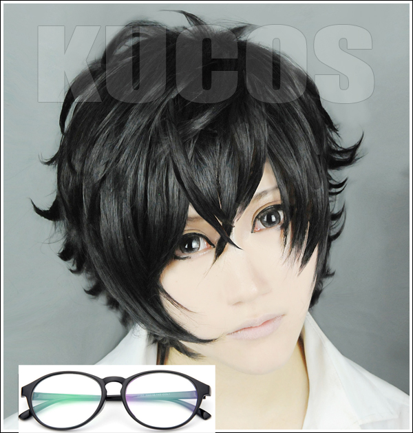 Us 8 0 High Quality P5 Persona 5 Kurusu Akira Joker Cosplay Wig Anti Wrinkle Curly Hair Wigs Glasses In Anime Costumes From Novelty Special Use