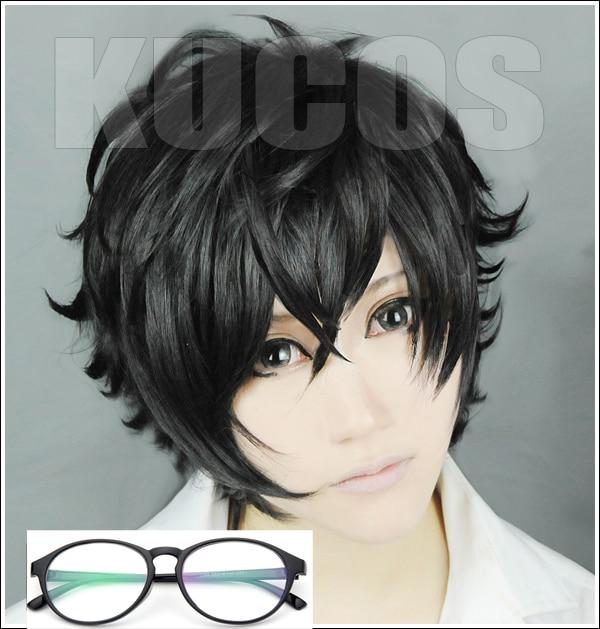 High Quality P5 Persona 5 Kurusu Akira Joker Cosplay Wig Anti Wrinkle Curly Hair Wigs + Glasses
