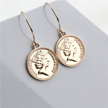 2019 Vintage Boho Trendy Zinc Alloy Queen Coin Portrait Pendant Drop Dangle Earrings Charms Gold Ethnic Women Brincos Oorbellen