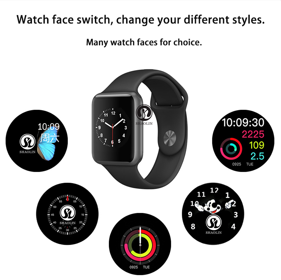 SHAOLIN Bluetooth Smart Watch Heart Rate Monitor Smartwatch Wearable Devices for iPhone IOS and Android Smartphones apple watch-19
