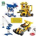 Pandadomik máquinas de alimentação 4 em 1 building blocks toy bricks compatíveis com lego technic brinquedos educativos carro de motor elétrico