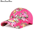 BooLawDee Women summer anti UV print floral baseball cap adjustable one size fits all nylon fastener tape closure 4C007
