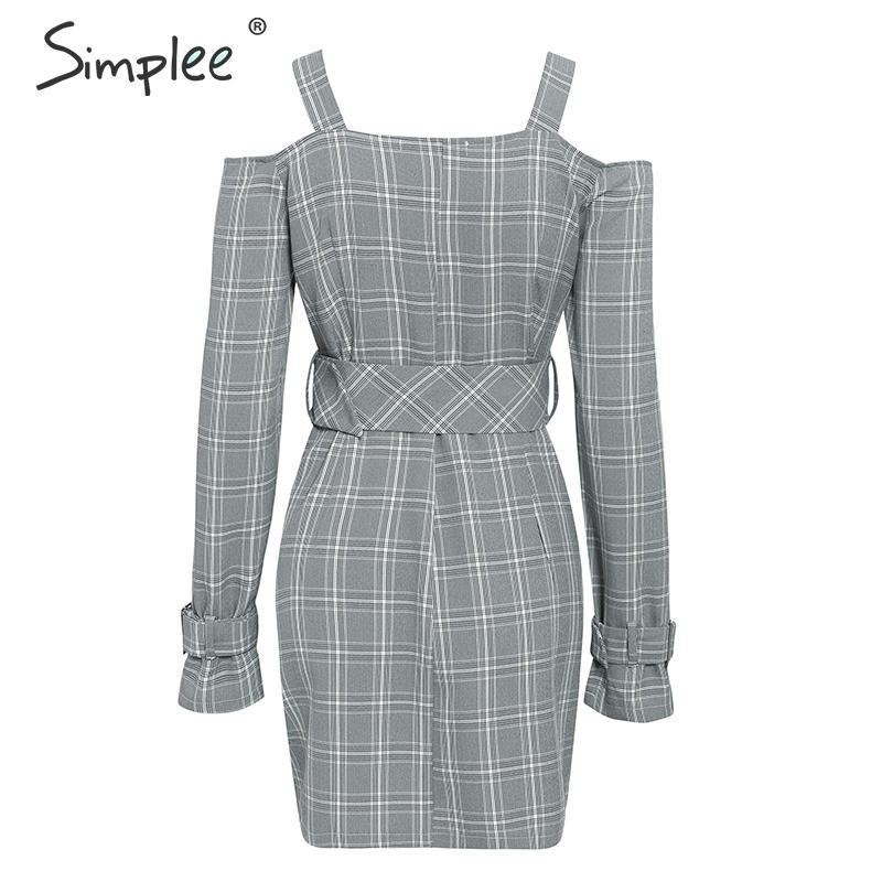 Simplee V-neck plaid sash belt women dress Spaghetti strap button office ladies dress Autumn winter female short party dress 13