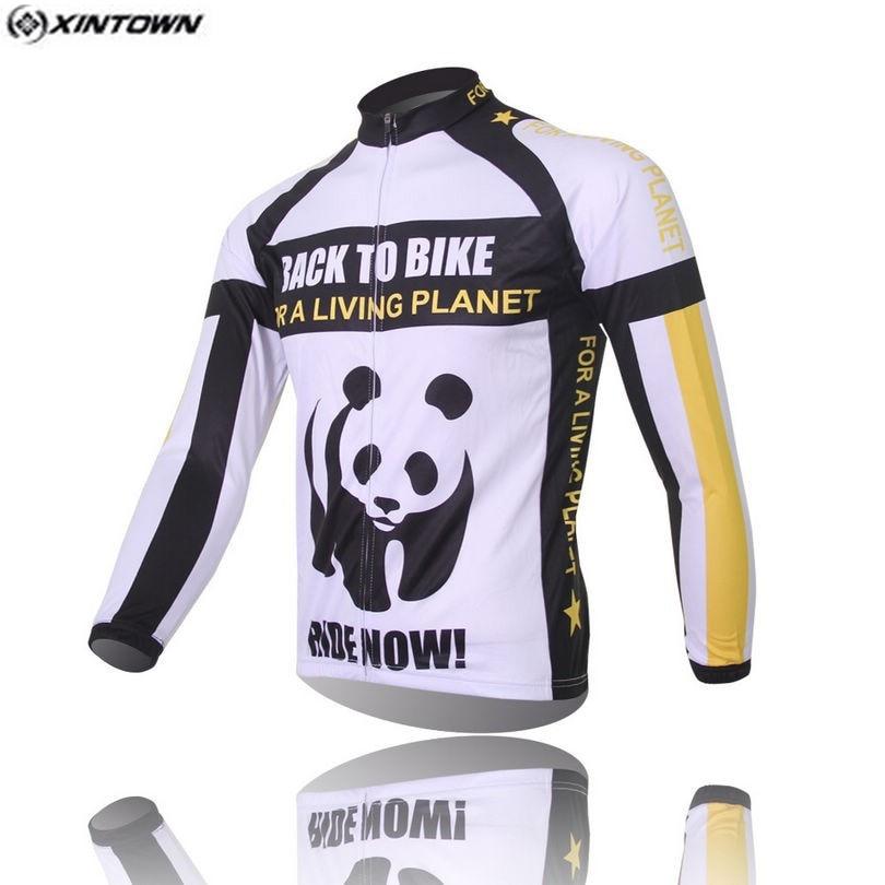 Hot Men White Panda Bike Long jersey Pro Team Cycling clothing Riding Top MTB Ropa Ciclismo Wear Maillot Long Sleeve Shirts