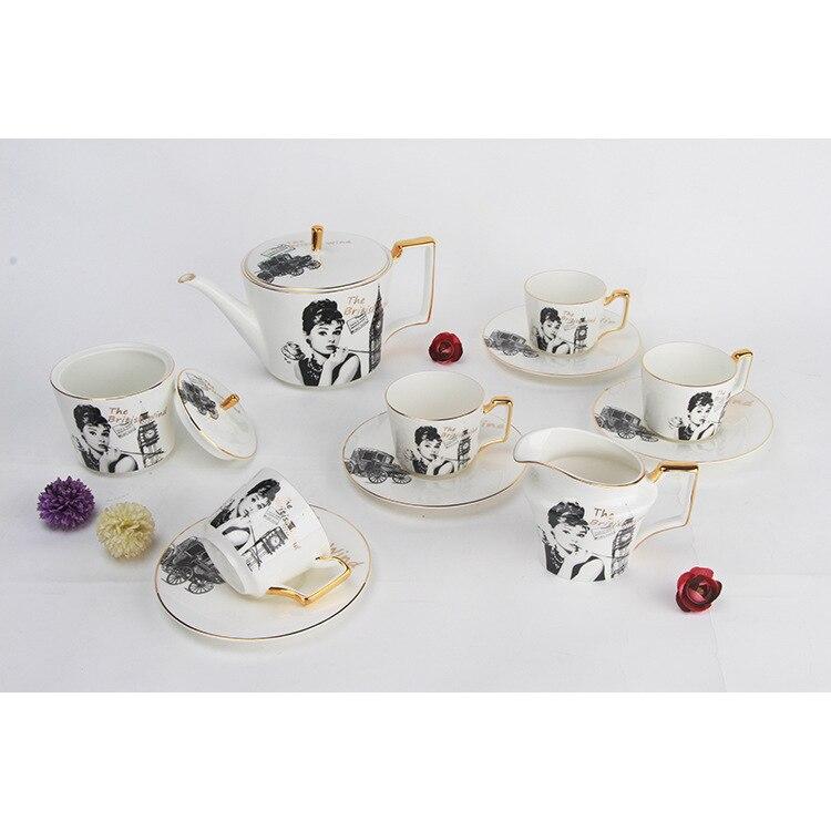 Os chine café Service costume céramique théière Hertz base Trace un Design en or côté tasse soucoupe après-midi thé magasin