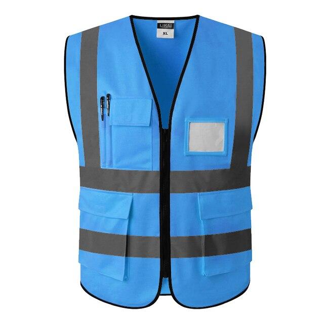 SPARDWEAR azul de seguridad chaleco Chaleco de chaleco con bolsillos libre  logotipo impresión Impresión de c408e8dc2a63