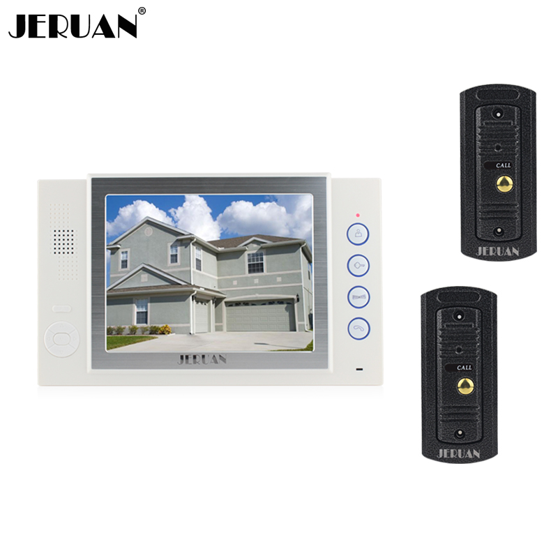 JERUAN 8 inch video door phone doorbell intercom system video recording photo taking metal shell outdoor hands-free jeruan 8 inch video door phone high definition mini camera metal panel with video recording and photo storage function
