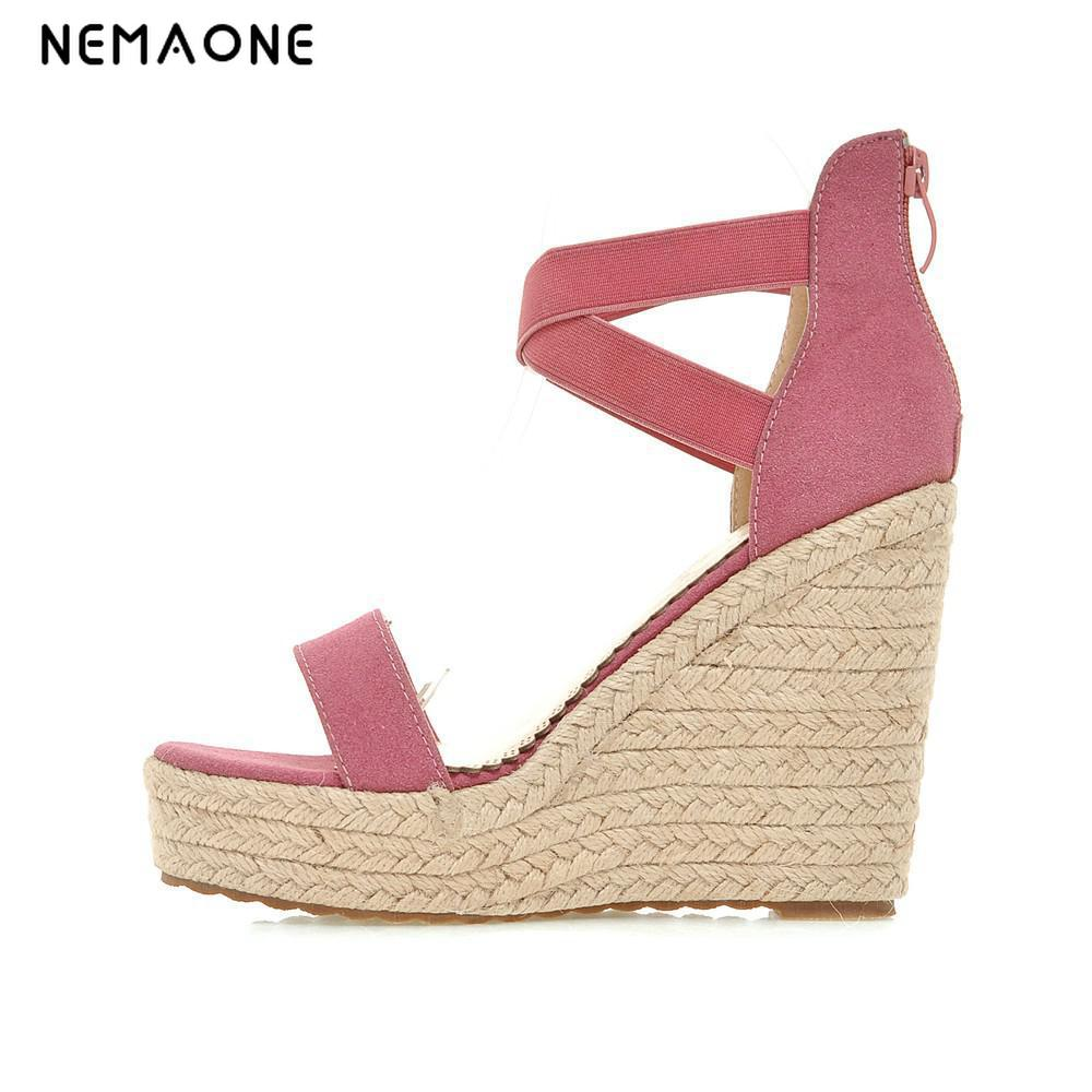 NEMAONE 2019 summer shoes for woman high heels wedges sandals platform casual sandals leisure ankle-wrap shoes size 45 46 47 48 bohemia plus size 34 41 new fashion wedges sandals slip on elastic band casual platform shoes woman summer lady shoes shallow