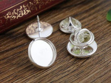 10pcs 12mm Inner Size Silver Copper Material Brooch Style Cabochon Base Blank Cufflink Spacer Settings Tie Tack Pins-T5-27(China)