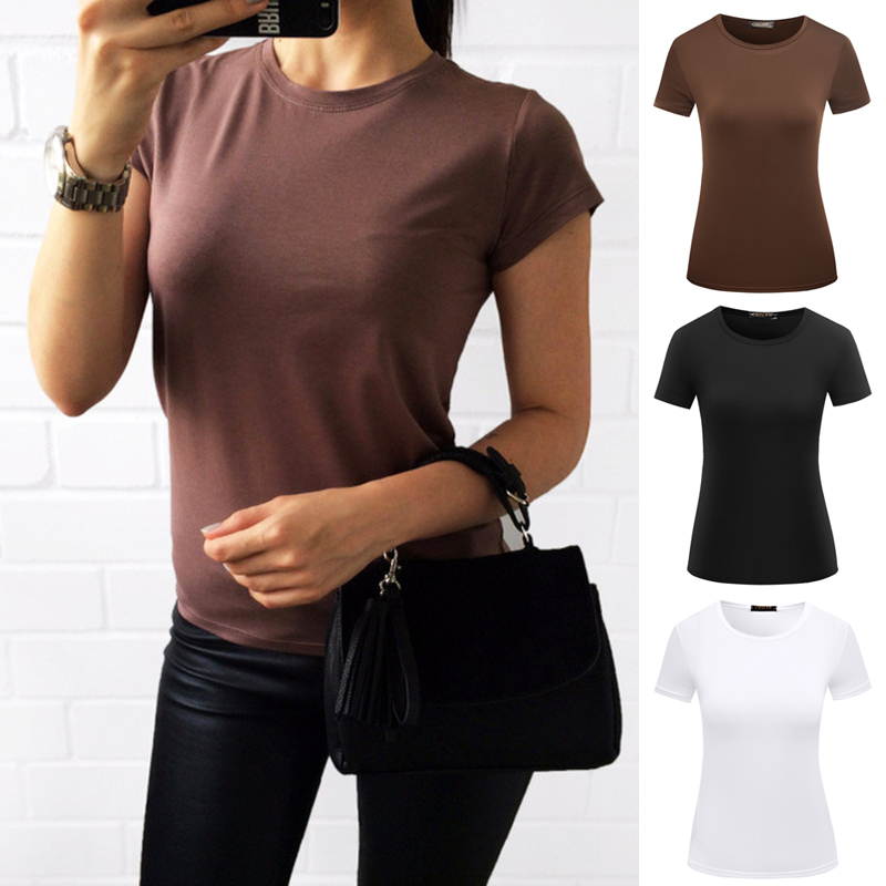 Высококачественная однотонная S-2XL Однотонная футболка женская хлопковая эластичная Базовая футболки женские повседневные топы футболка с...