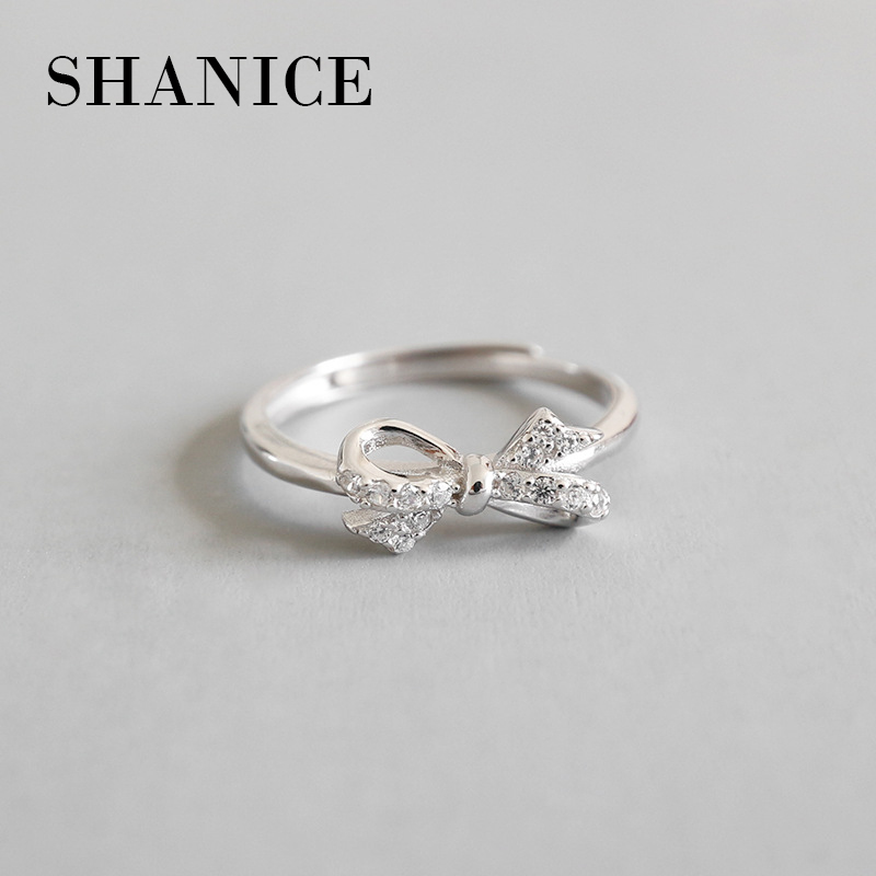 SHANICE Authentic 100% 925 Sterling Silver Sparkling Bow Knot Stackable Ring Micro Pave CZ Compatible Jewelry GF Gifts