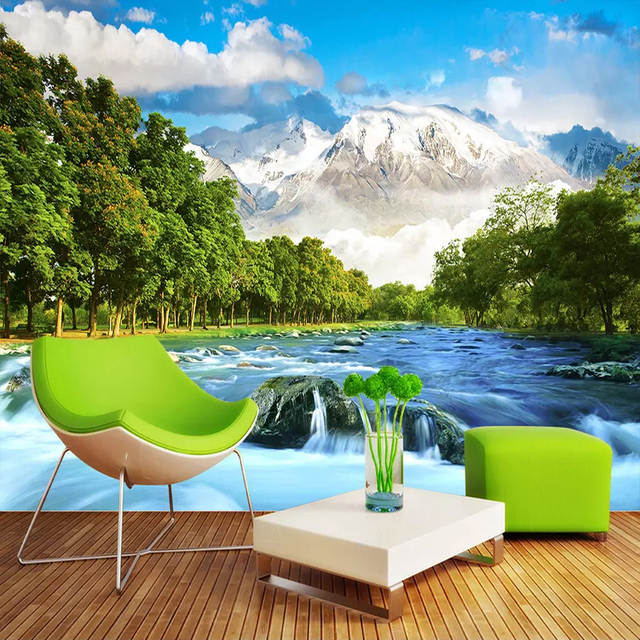 Custom 3d Wall Mural Wallpaper Snow Mountain Scenery Photography