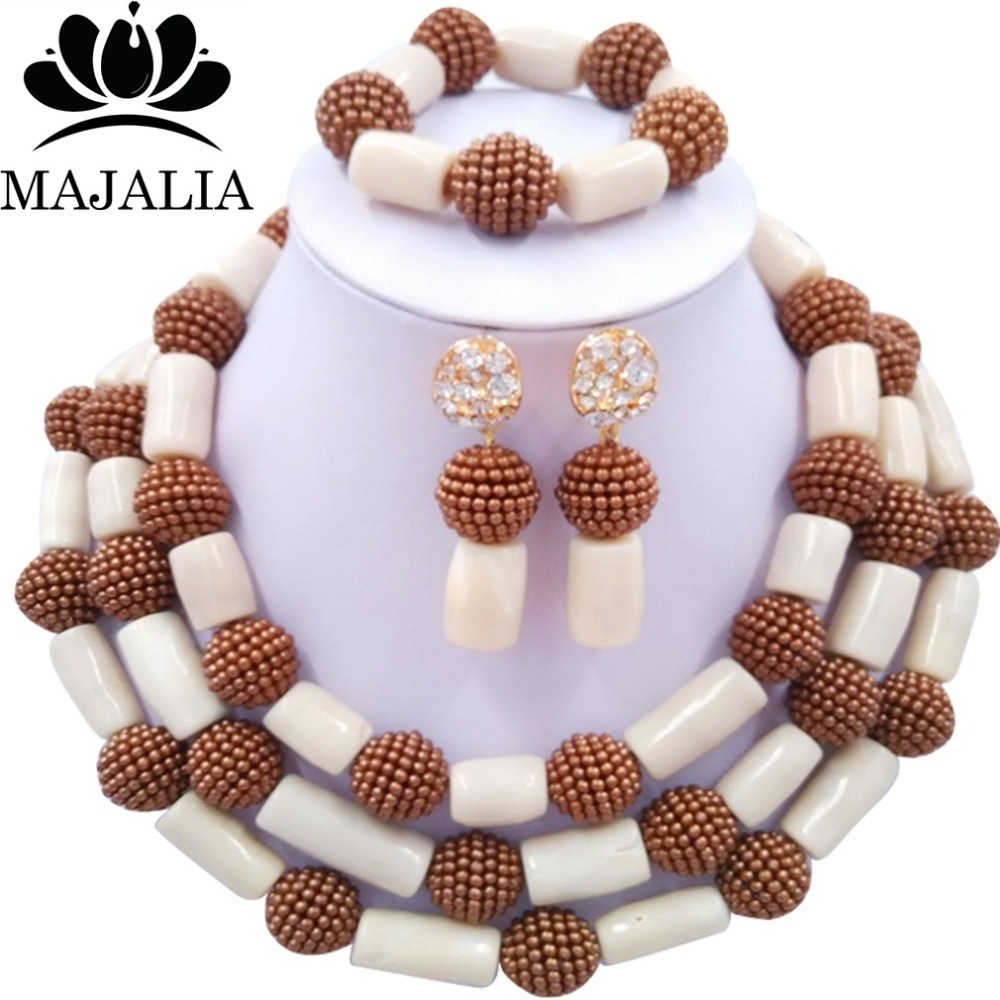 Fashion african wedding beads white coral and plastic nigerian wedding african beads jewelry set Free shipping Majalia-298