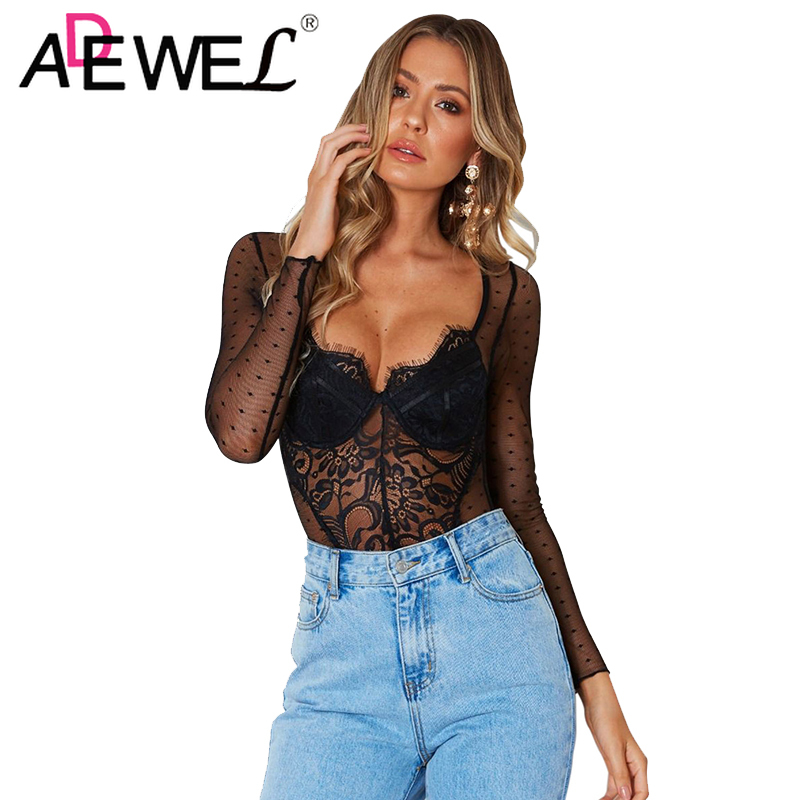 ADEWEL 2019 Long Sleeve Women Bodysuit Summer Sexy Woman Black White Decadent Lace Transparent Spot Bodysuit Night Club Body Top