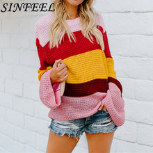 SINFEEL Rainbow O-neck Sweaters Women Winter 2018 Jumpers Knitted Clothes Fashion Striped Loose Oversized Pullover Female