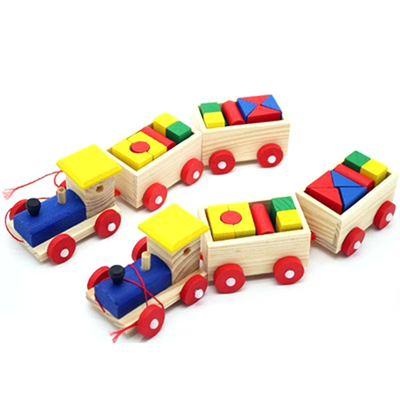 Early Childhood Toys Small Train Dragging Toys Educational Toys Three Wooden Blocks Building Blocks For Kids Children Xmas Gift