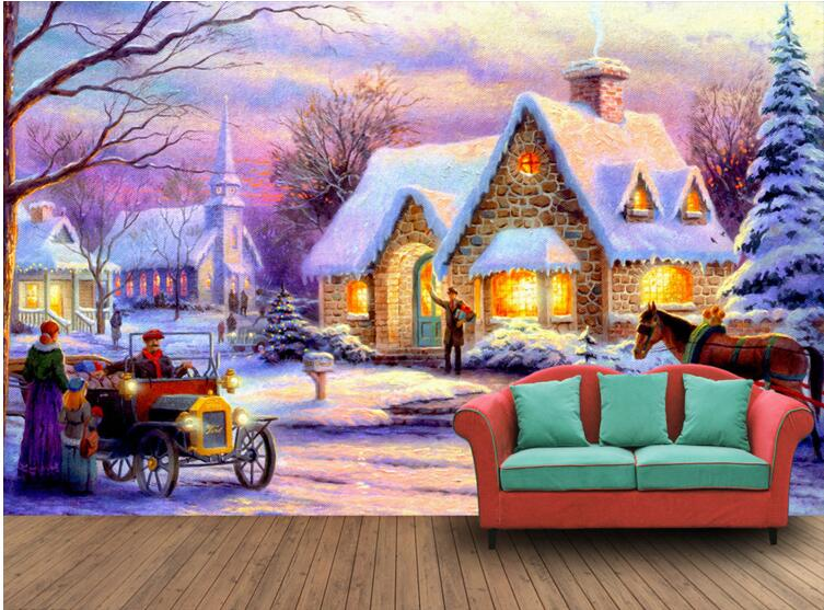 3d room wallpaper custom mural non woven wall sticker for Winter wall murals
