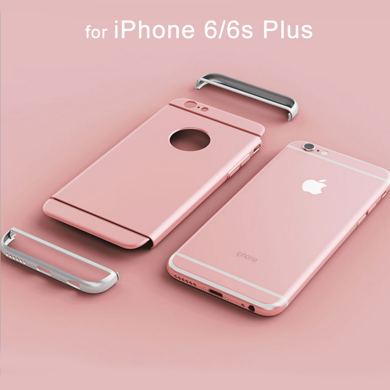 Luxury Metallic Hard PC Phone Case for Apple iPhone 7 Plus 6 6s Plus Full Body Detachable Cover Circle Logo capinhas Accessories image