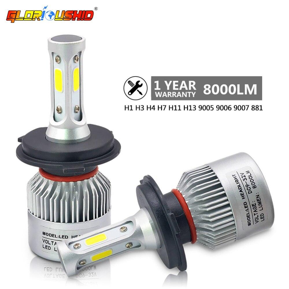 2 шт. H7 H4 светодиодный H11 H1 H3 9005 9006 светодиодный фар автомобиля лампы 72 Вт 8000LM 12 В автомобильные лампы туман свет COB чипы белый 6500 К