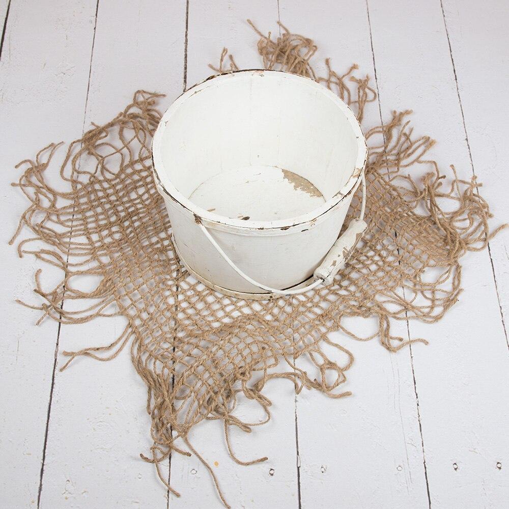 D&J Hand Knitted Newborn Photography Prop Chunky Burlap Layer Net Hessian Jute Backdrop Blanket 100% Jute Rope 80x80cm