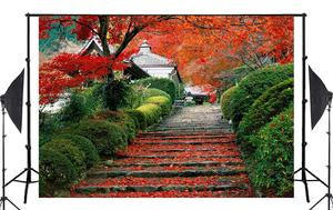 Image 2 - 7x5 pies hermosa Hojas de arce escalera naturaleza telón de fondo exuberantes plantas verdes boda foto estudio fotografía fondo