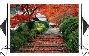 Image 2 - 7x5ft Beautiful Maple Leaves Ladder Nature Backdrop Lush Green Plants Wedding Photo Studio Photography Background